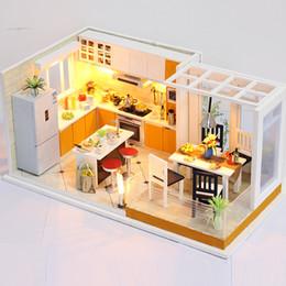 miniature in legno diy Sconti Scala 1:32 FAI DA TE in legno fatti a mano miniatura casa delle bambole kit modello buliding mini
