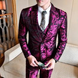 2019 chaqueta rosa rosa (chaqueta + chaleco + pantalón) Rosa Rosa Fumando Uomo Novios Traje Hombres Business Tuxedos Slim Fit Club Fiesta Fiesta Traje Abito Uomo Cerimonia Y190418 rebajas chaqueta rosa rosa