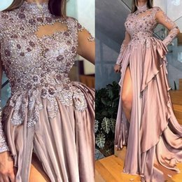 blue maternity evening dresses Coupons - Arabic Aso Ebi Beaded Appliques Long Sleeves Prom Dresses 2020 Sexy High Neck Dusty Pink Chiffon Formal Evening Gowns Party Ball Dress