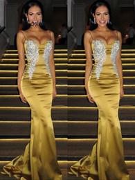 52d303e222d8 lunghi abiti da cerimonia Sconti Ispirazione oro Abito da sera Sexy  Spaghetti Strap Mermaid Satin Abiti