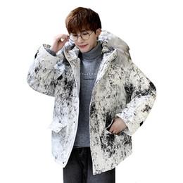 Coton rembourré Parkas vêtements d hiver style coréen hommes Tendance grand col de fourrure à capuchon veste vers le bas épais vêtements chauds Homme