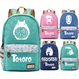 Totoro kindertasche online-F2504Anime Kawaii nette My Neighbor Totoro Kind-Schulmädchenschultasche Frauen Bagpack Jugendliche Leinwand Lady Femme Rucksack