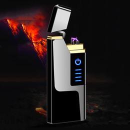 Isqueiro mais fino on-line-Arc elétrica USB Isqueiro 9 milímetros ultra-fino à prova de vento Isqueiro Plasma recarregáveis para Candle Cigarro com LED de Alimentação Display