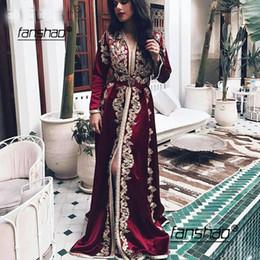 2019 lungamente abito da sera bianco di nozze Borgogna marocchino caftano lunghi abiti da sera maniche di pizzo Appliques musulmana abito arabo musulmano Occasioni speciali partito formale