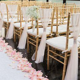 venda organza sashes Desconto Barato Beach Garden cadeira de casamento caixilhos Com Cristal Venda Quente Branco Marfim Cadeira de Casamento Tampa de Costas para trás Banquete Cerimônia de Casamento de Aniversário