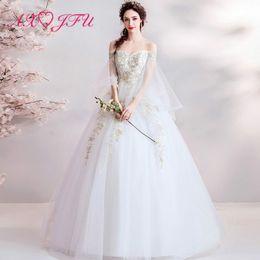 5fd983666b AXJFU Luxury princess golden lace wedding dress boat neck vintage crystal  beading flower pagoda sleeve white wedding dress 2661
