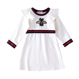 платье для девочек дизайнер INS осень новое прибытие девушки мультфильм пчела с длинным рукавом рим хлопок девушка дети элегантный европейский и американский стили платье от