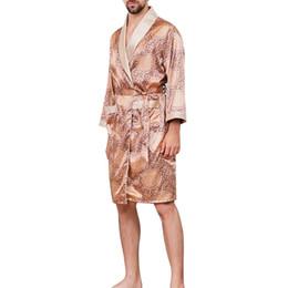LASPERAL Tallas grandes Robe Hombres Ropa de dormir de verano Traje Kimono Moda Impreso Seda suave Manga larga Cómodo Ropa de dormir Masculina desde fabricantes
