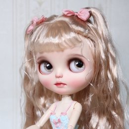 cat doll eyes Coupons - ICY 19 joint blyth doll with makeup face white skin Golden Wool curls Fairy big eye girl makeup doll T200428