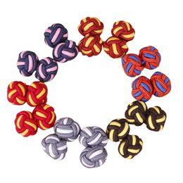 abotoaduras de cor roxa Desconto 1 da dupla artesanais homens Upscale clássico corda Double Ball Knot Cufflinks forma redonda Ligações Multicolor tecido elástico Homens Cuff