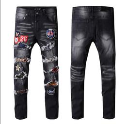 2019 mendiant usé pantalon personnalité patch broderie badge élastique petit jean droit pieds tendus tendance ? partir de fabricateur