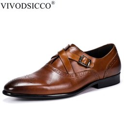 Коричневые ботинки онлайн-VIVODSICCO Italian Designer Black Brown Brogue Shoes Genuine Leather Men Formal Dress Oxfords Party Office Wedding Shoes Sapatos