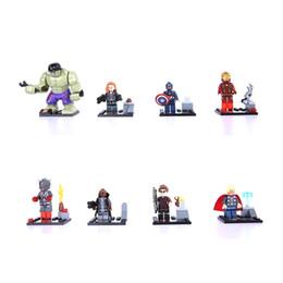2019 grande super herói Uilding Construção Brinquedos Blocos 8 PCS Mini Modelo DC Marvel Super Heroes Vingadores Assembléia Building Block Ironman Big Hulk Capitão América ... desconto grande super herói