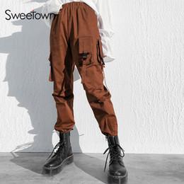 2019 pantalones cargo marrón Sweetown Marrón Vintage Streetwear Pantalones Bolsillos Patchwork Pantalones cargo Mujeres Verano 2019 Nueva llegada de punto pantalones de cintura alta pantalones cargo marrón baratos
