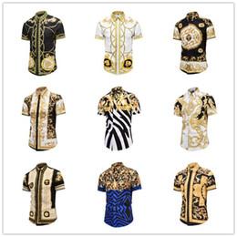 slim fit herrenhemd muster Rabatt 2019 neue beiläufige Hemden der Männer Medusa Gold Blumendruck Mens Dress Shirt Patterns Slim Fit Hemden Männer Mode Business Shirts Kleidung