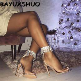 Pompe stilettine nappa strass online-Bayuxshuo di lusso con strass nappa sandali tacco alto donne cerniera a spillo pompe sandali sottili signore della festa nuziale scarpe sexy Y19070503