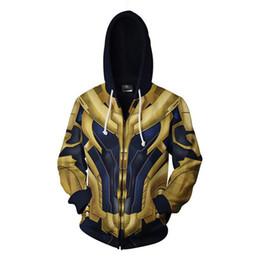 Мужская с капюшоном с капюшоном онлайн-Endgame 4 Thanos Hoodies Men Adults 3D Printing Zip up Hooded Sweatshirt Yellow Blue Long Sleeve Hip Hop Streetwear Pullovers