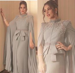 Noite kaftan frisado por muito tempo on-line-Elegante Vestidos Formais 2019 Beaded Prom Dress manga comprida vestidos de noite do desgaste da noite Kaftan robe de soiree Abendkleider