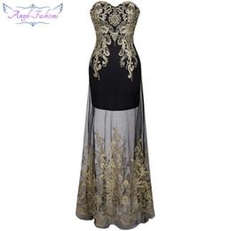 Платье ангела онлайн-Angel-fashions Винтаж 1920-х годов Вышивка без бретелек Прозрачное длинное вечернее платье на шнуровке Vestidos De Noche Black 189 Y19051401