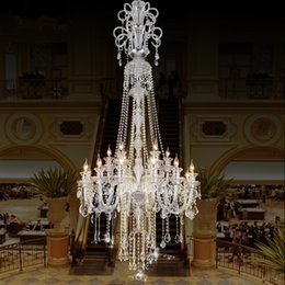 candle light fixture chandelier Promo Codes - large stair long hotel luxury crystal chandelier light modern long K9 Lobby hotel lustres de cristal candle chandelier lighting fixture