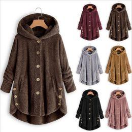 Pele do hoodie das senhoras on-line-Mulheres Outwear Sherpa velo Overcoat Botão Irregular casacos longos das senhoras Fur Hoodies geral Jacket moda casaco de leopardo inverno Tops C92710