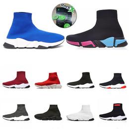 x chaussettes Promotion Avec Stock X 2019 Speed Entraîneur Hommes Noir Designer Chaussures Paris Triple S Blanc Femmes Sock Chaussures de course bottes Sports à Mocassins Casual