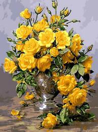 16x20 '' gelbe goldene Rose Blumen blühen DIY Farbe nach Zahlen Kits auf Leinwand Kunst Acryl Ölgemälde von Fabrikanten