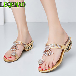 Women Sandals Flip Flops 2019 New Summer Fashion Rhinestone Wedges Shoes  Woman Slides Crystal Beautiful Lady Casual Shoes Female 04a22e9f2802