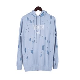 luci europee Sconti 18FW più recente inverno Europa Parigi americano luce blu moda lusso buco rotto felpa casual donna uomo felpe con cappuccio streetwear