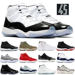 scarpe da corsa più basse Sconti Nike air jordon retro Designer Concord 45 scarpe da basket Trainer 11 cappello e abito a basso Serpente Midnight Navy scarpe da tennis di sport degli Stati Uniti 36-47