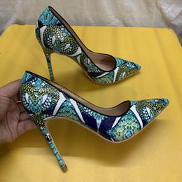 Носок обуви пик онлайн-Повседневный Дизайнер Бесплатная доставка реальный рис зеленая змея питон женщины леди горячая распродажа 2019 новый стиль точка носок туфли на высоких каблуках туфли на высоком каблуке 12 см 10 см 8 см