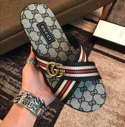 clips para los pies Rebajas Nuevo Original zapatillas de diseño para hombre Piel de clip de cuero genuino estilo flip Sandalias a rayas estilo europeo Zapatos Sandalias Gbrand