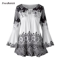 e0463dcbb1fdc2 Kostenlose Strauß Kleidung Mode Damen Plus Size Printed Flare Sleeve Tops  Blusen Keyhole T-Shirts Langarm T-Shirt Frauen günstige schlüsselloch tops  frauen