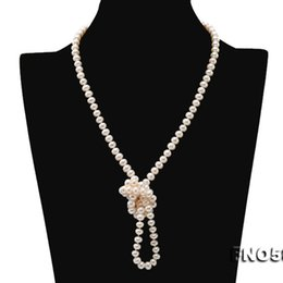 "Collana di perle naturale del maglione online-JYX Pearl super Long Sweater Necklace acqua dolce naturale 6-7mm White Pearl Necklace Long Sweater Chain 33 ""wearing beautiful"