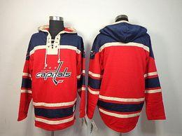 pullover nhl vuoto Sconti Maglie NHL Washington Capitals Old Time Hockey # 8 Alex Ovechkin 21 Brooks Laich Blank Red Fleece Felpa con cappuccio Maglie Ricamo Logo Ordine Mix