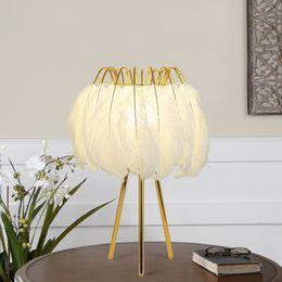 Nordic Feather Table Lamp Romantic Hotel Home Living Room Bedroom Bedside Decor Desk Light Fixture TA156