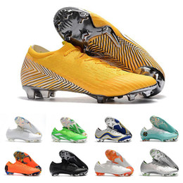 pro lace Promo Codes - Mens Mercurial Superfly XII PRO FG CR7 12 Low CR7 Football Boots Ronaldo Neymar 20th Anniversary 1998-2014 Soccer Shoes Cleats Size 36-46