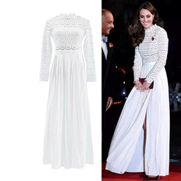 2019 jersey di bambù Kate Principessa Style Primavera Estate maxi lungamente del merletto dei vestiti da partito di modo di stile 2020 scava fuori epoca pieghe Split Gowns