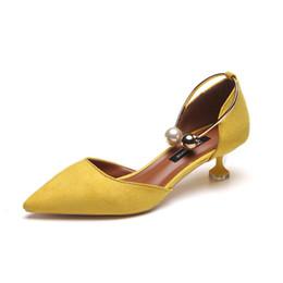 Sandali degli alti talloni della perla online-Designer Dress Shoes 2019 Sandali donna Tacchi alti Estate Donna Sandali gladiatore Tacco a blocchi Tacco a tubino Donna Décolleté Tacco grosso