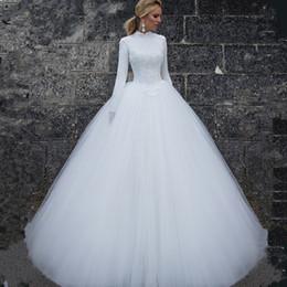 Abiti da sposa maniche musulmane online-2019 Abiti da sposa musulmani maniche lunghe collo alto abiti da sposa semplici abiti su misura abiti da sposa lunghi