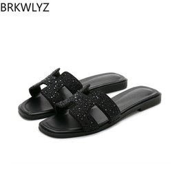 f3b9ae34d35f new crystal slippers cut out summer beach sandals Fashion women slides  outdoor slippers indoor slip ons flip flops plus size