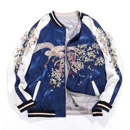Chaquetas bordadas de seda online-S-XXXL Primavera suelta chaqueta bordada Yokosuka Phoenix chaqueta de béisbol bordada Hombres / mujeres de doble lado desgaste de seda Pilot Coat
