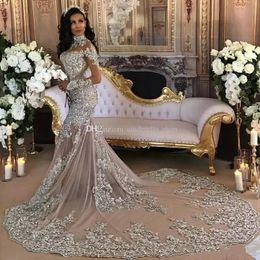 Manches longues en Ligne-Rétro manches longues robes de mariée sirène 2019 col haut perles de cristal appliques trompette longue train illusion arabe robes de mariée personnalisées