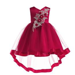 Vestido vermelho vestido de dama de honra on-line-Bordado Vestido De Seda Princesa roupas 2019 New mangas Red Girl Dress Dama de honra Pageant Vestido de Festa de Aniversário de Casamento