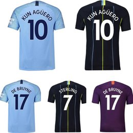 2570195fa Kids Soccer Jerseys boys girls For 18 19 City of Manchester Stadium home Football  jersey adult Maillot De Foot baby designer clothes