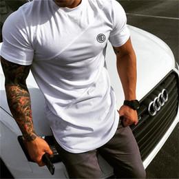 Pantalones cortos de malla para hombre l online-Marca para hombre Muscle T Shirt Culturismo Fitness Hombres Tops Algodón Singlets Plus Gran tamaño camiseta Algodón de malla de manga corta camiseta M-2XL