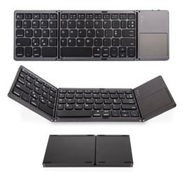 Touchpad mini bluetooth online-Portable Keyboard Triple Bluetooth pieghevole Wireless Mini pieghevole Touchpad tastiera per iOS / Android / Windows tablet iPad