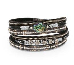 Kreismagneten online-Luxus-Designer-Schmuck Frauen Armbänder Abalone Muschel Lederarmband Kristall mehrschichtigen Gürtel Circles Magnet Wölbungsarmband