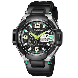 Пластиковые часы мужские онлайн-SYNOKE  Fashion & Casual Watch Men Relogio Mens Waterproof Watches Reloges Double Time Watch Plastic