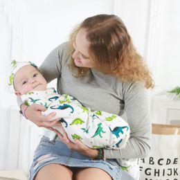 recém-nascido orgânico Desconto 15 estilos Crianças Muslin Swaddles Ins Envoltórios Cobertores Do Berçário De Cama Algodão Orgânico Recém-nascidos Ins Floral Impressão Swaddle + Headband dois conjuntos de peças